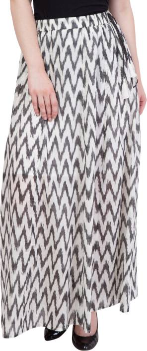 Hive91 Printed Women A-line White Skirt