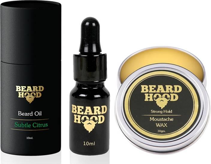 Beardhood Subtle Citrus Beard Oil (10ml) & 100% Natural Mustache Wax Strong Hold (30g)