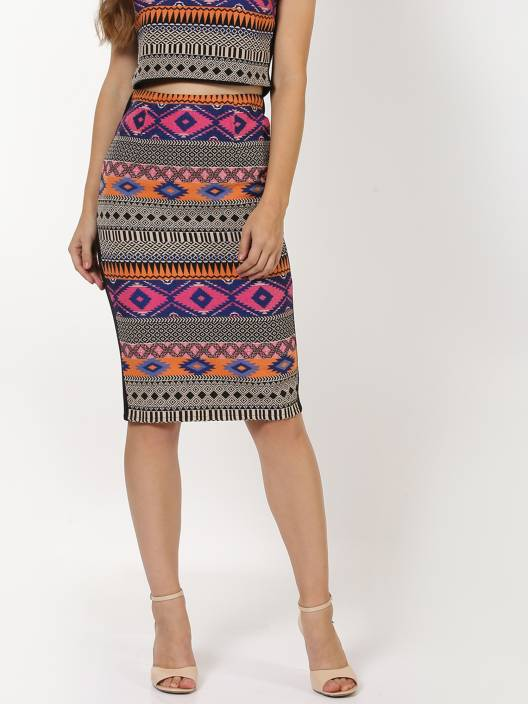 Sassafras Self Design Women's Pencil Black, Pink, Blue Skirt