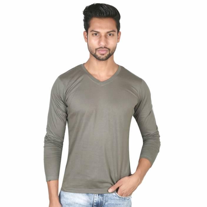 vimanika Solid Men's V-neck Dark Green T-Shirt