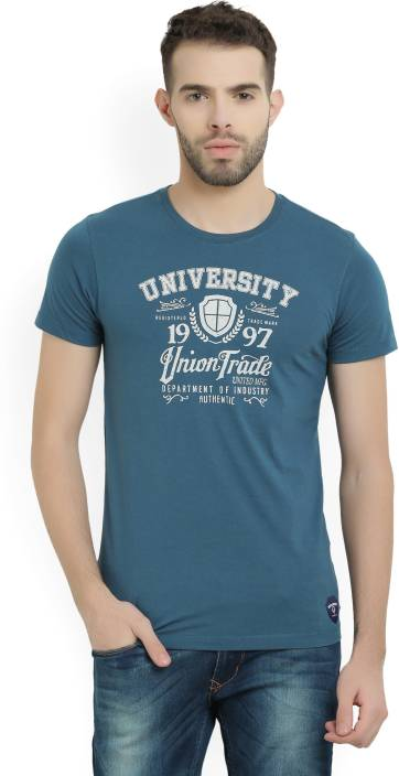Peter England University Printed Mens Round Neck Blue T-Shirt
