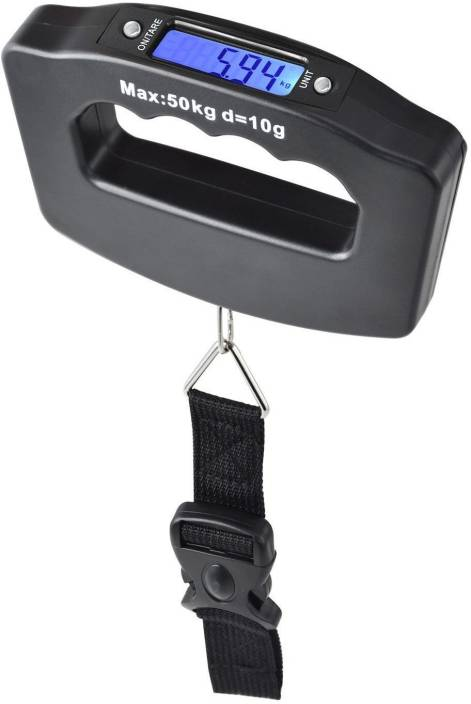 BalRama 10gram-50Kg Digital Electronic Weighing Scale Portable Kitchen Travel Luggage Hanging Weight Hook with Hand Grip Belt + Adjustable Strap + Lock + LCD Backlit for Night Vision + Auto Power Off + Data Lock Funtion + Over Load Sound Indication + Battery Multi Purpose Hand-Held for Travellers, Shopping, Personal, Travel, Outdoor Use Weighing Scale