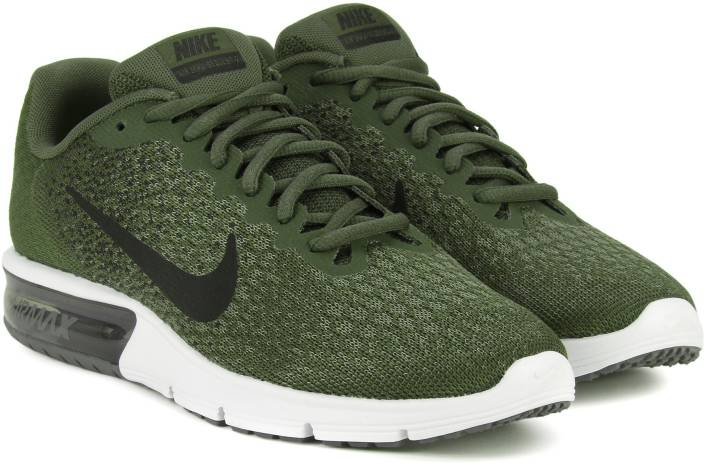 finest selection 68079 419df Nike AIR MAX SEQUENT 2 Running Shoes For Men (Black, Green)