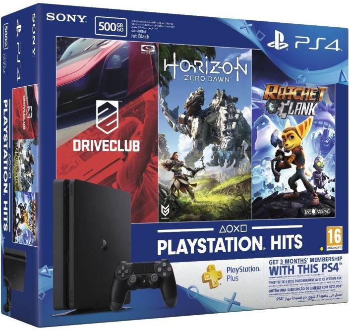 Sony PlayStation 4 (PS4) Slim 500 GB with Horizon Zero Dawn, Drive Club and Ratchet & Clank  (Jet Black)