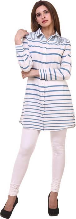 Hive91 Women Striped Casual Blue Shirt