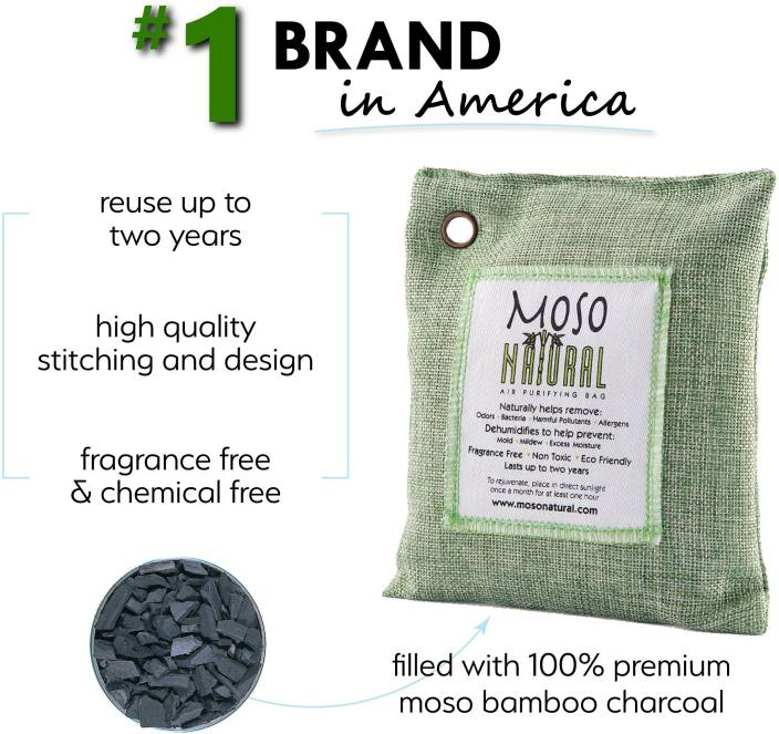moso natural Air Purifying Bag 500g Green Color Naturally Removes Odors,Allergens and Harmful Pollutants Odor . Suitable for Kitchens, Basements, Bedrooms, Living Areas. Reuse upto 2 years … Portable Room Air Purifier