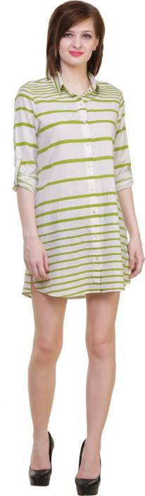 Hive91 Women Striped Casual Green Shirt