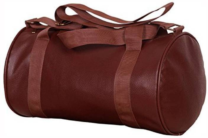 d486dee2cccb 5 O Clock Sports Brown Leather Gym Bag For Men