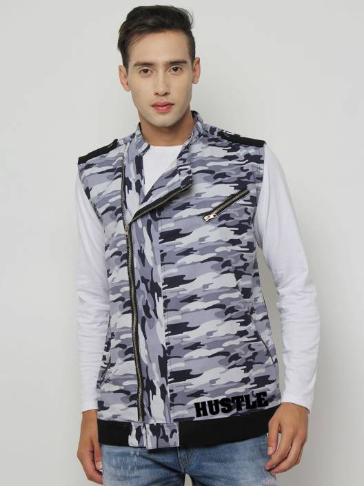HUSTLE Sleeveless Printed Men Jacket
