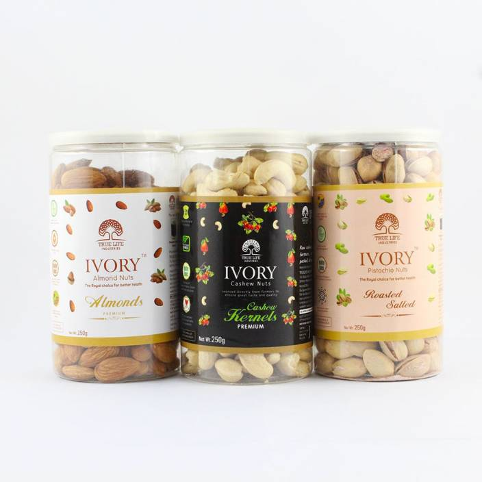 Ivory Pack of 3 Almonds, Cashew and Pistachio Nuts 250gm each Almonds,  Cashews, Pistachios