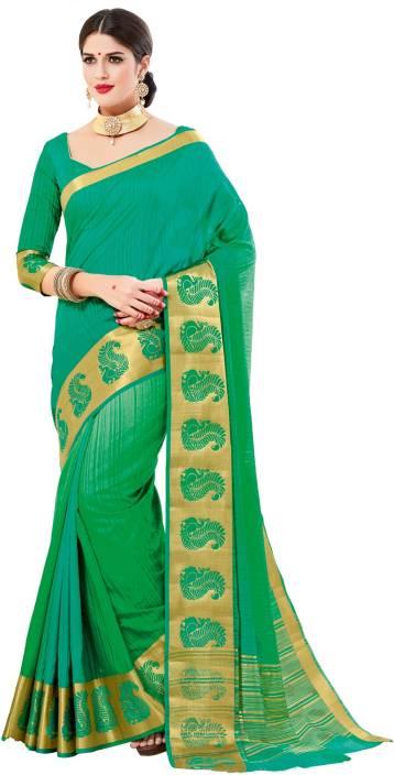 1c968fb604 Buy Taanshi Self Design Mysore Silk Cotton Blend Green Sarees Online ...