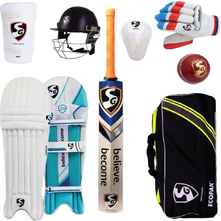 5d5bebd8d SG Multicolor Economy Cricket Set With Helmet and Cricket Ball Cricket Kit (Bat  Size  6 (Age Group 11 - 13 Years))