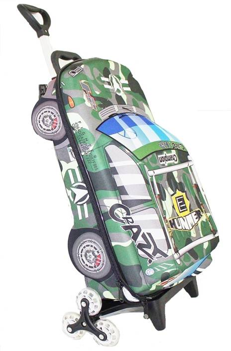 ba1c7e0a07b7 Shopo GREEN Kids Travel Luggage Trolley Suitcase Bag Car Shape for Boys