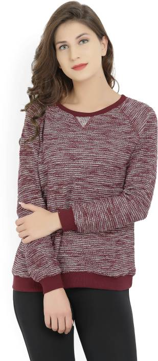 People Self Design Round Neck Casual Women's Maroon Sweater