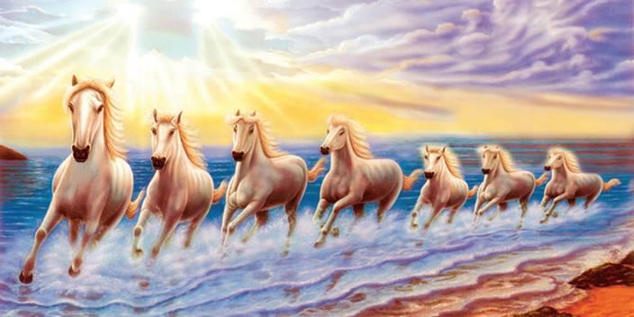 Vastu Poster White 7 Horse Running Vinayl Sticker 48 X 24 Inch