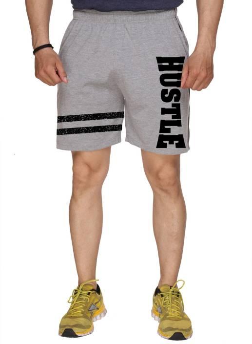 HUSTLE Printed Men's Grey Gym Shorts