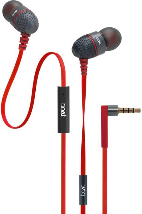 boAt BassHeads 220 Red Wired Headset with Mic