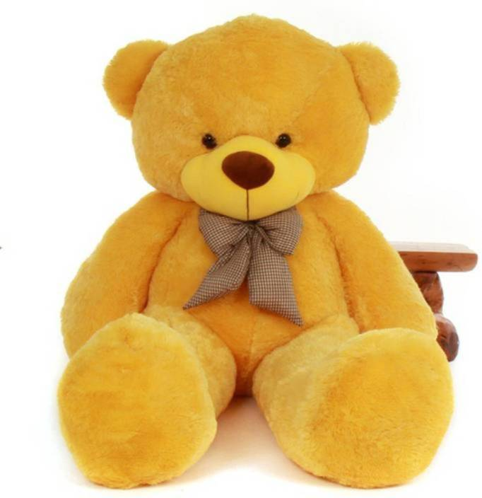 AVS 4 Feet Stuffed Spongy Huggable Cute Teddy Bear Birthday Gifts Girls Lovable Special Gift High Quality (Yellow Color)  - 122 cm