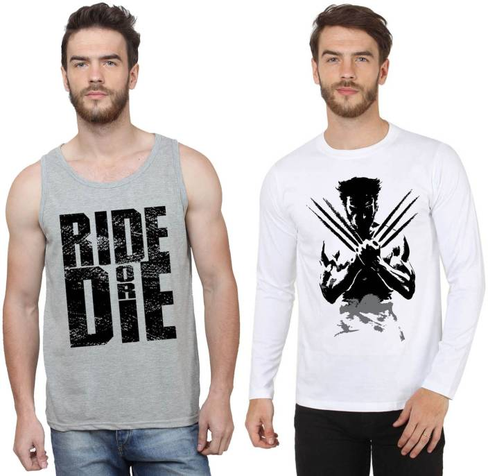 SayItLoud Printed Men's Round Neck White, Grey T-Shirt