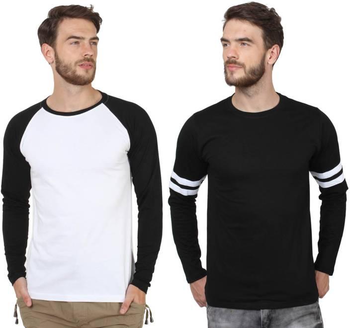SayItLoud Solid Men's Round Neck White, Black, Black, White T-Shirt