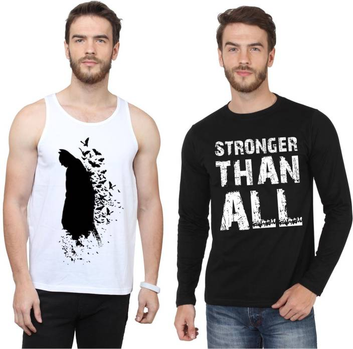 SayItLoud Printed Men's Round Neck Black, White T-Shirt