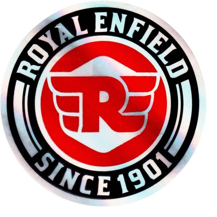 Monk 29 Round New Royal Enfield Logo Since 1901 Metallic Silver