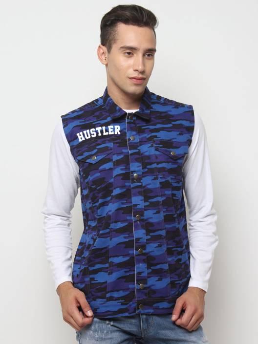 HUSTLE Sleeveless Printed Men Jacket