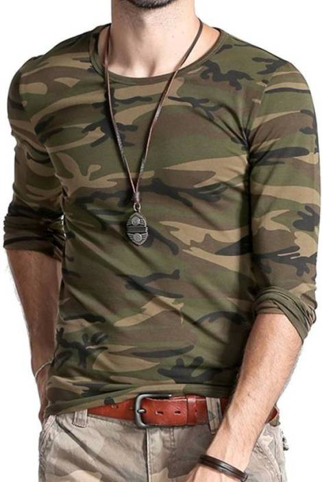 PeppyZone Military Camouflage Men s Round Neck Green T-Shirt - Buy Army  PeppyZone Military Camouflage Men s Round Neck Green T-Shirt Online at Best  Prices ... 3f8e831a4c6