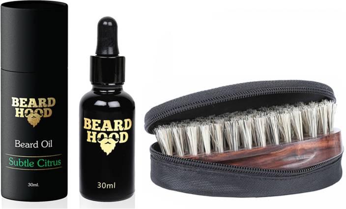 Beardhood Subtle Citrus Beard Oil (30ml) & Boar Bristles Beard Brush