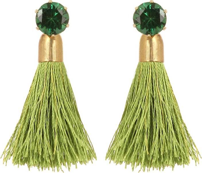 GoldNera Green Stud Tassel Contrast Earrings Bollywood Style For Women Girls Unique Product Alloy Tassel Earring