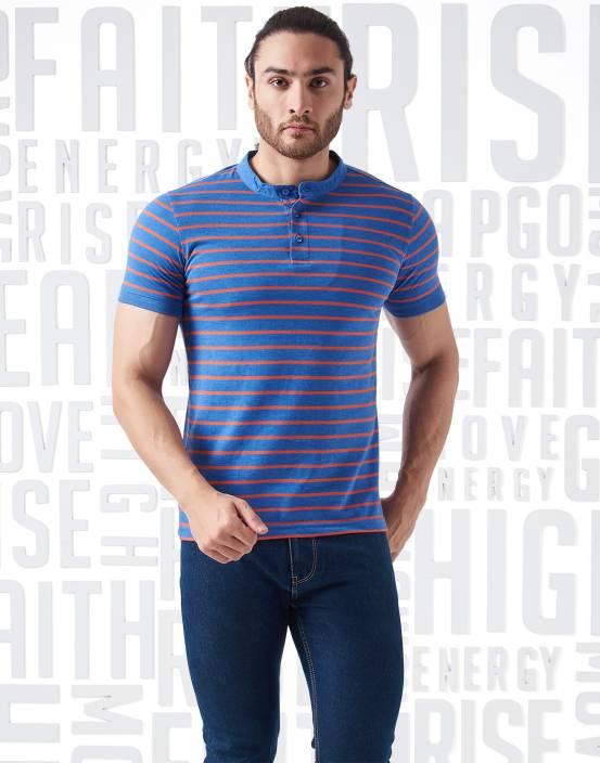 Metronaut Striped Men's Henley Blue T-Shirt
