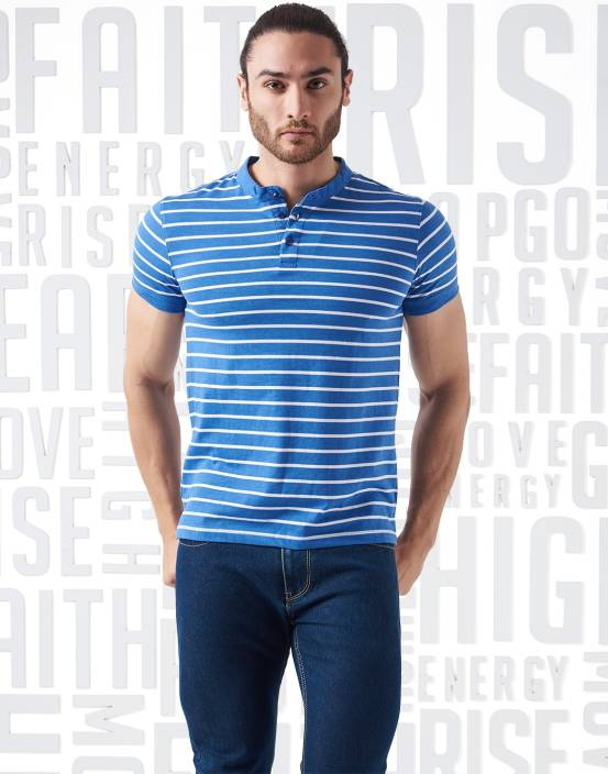 Metronaut Striped Men's Henley White T-Shirt