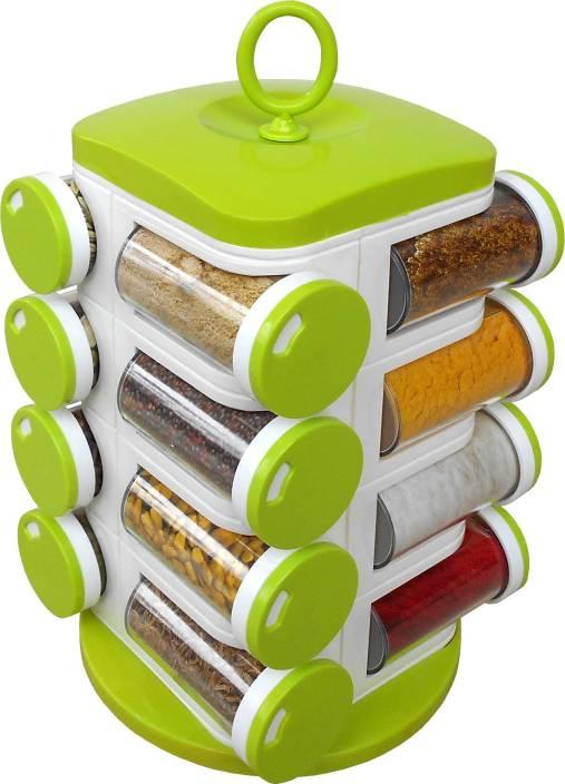 883cf327d8a9 WCSE 16-Jar Revolving Green Spice Rack Masala Box 1 Piece Condiment Set