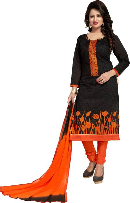 Fashion Ritmo Chanderi Embroidered Semi-stitched Salwar Suit Dupatta Material