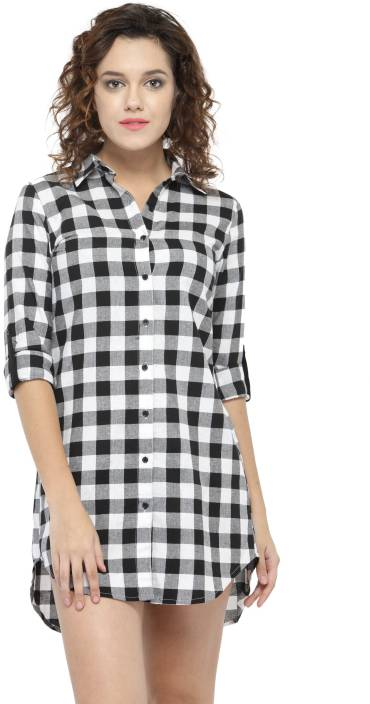 Hive91 Women Checkered Casual Button Down Shirt