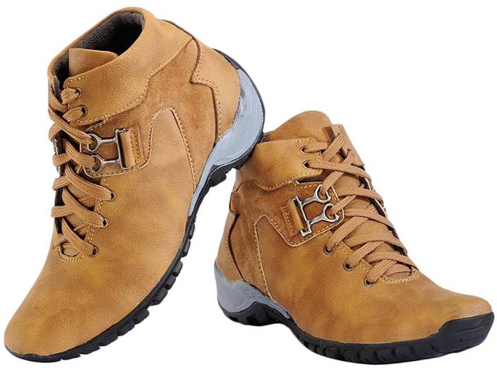 5d2e0aa67ae Deals4you Men's Synthetic Leather Tan Casual Shoes Boots For Men