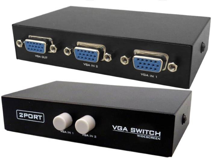 Cables Kart 2 Port Manual VGA Splitter -for two PC to share one monitor and  speaker system VGA Cable