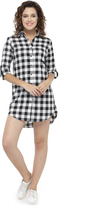 Hive91 Women's Checkered Casual Black Shirt