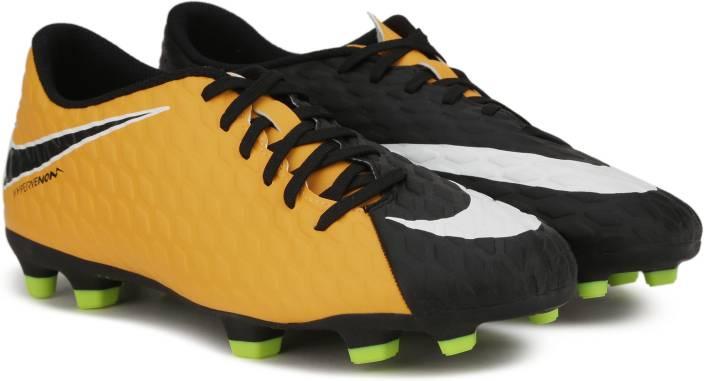 super popular c1d77 0e8e0 Nike HYPERVENOM PHADE III FG Football Shoes For Men (Black, Green, Orange)