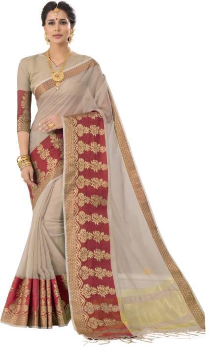 acb4253aee1a7f Pisara Woven Banarasi Banarasi Silk Saree (Beige