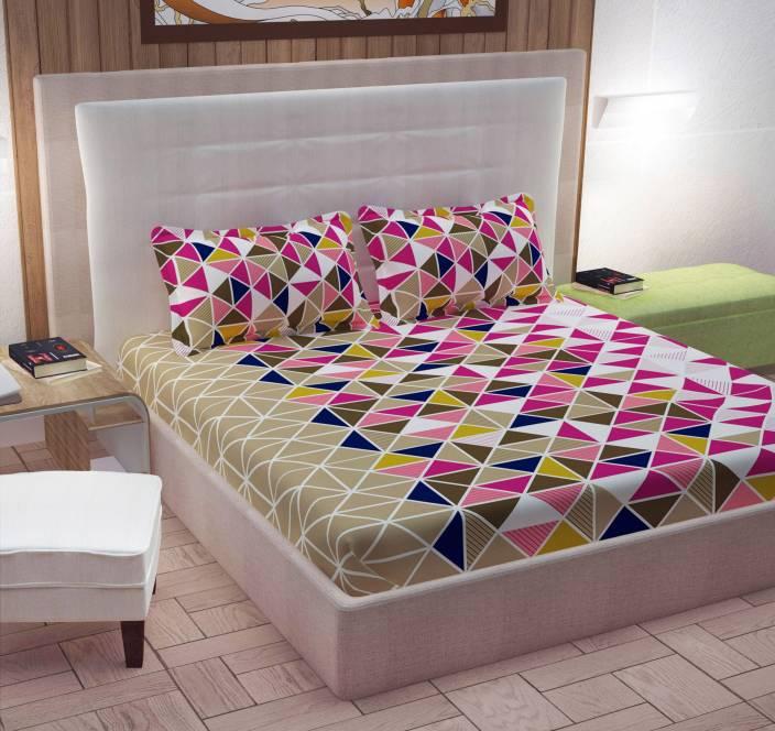 CURL UP Cotton Geometric Double Bedsheet