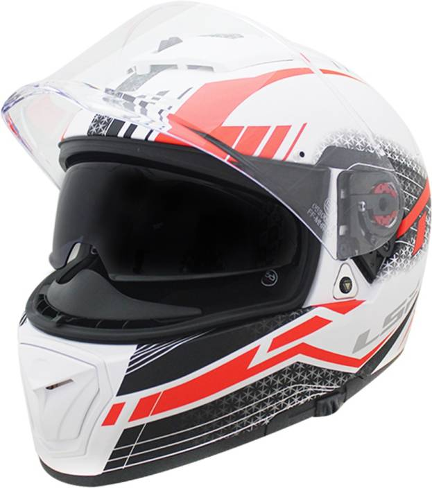 4987c54d LS2 Helmet FF390-L Split White Red Matt With Smoke Goggle+Clear Visor  Motorbike Helmet (White, Red)