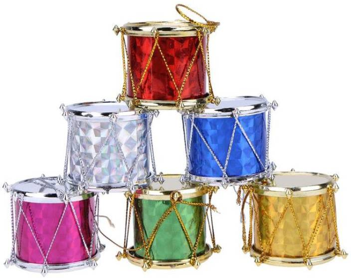Christmas Drum Decor.Jamboree 6 Pcs Lot Drum Pendant Christmas Tree Hanging