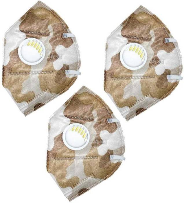 AutoKraftZ PM2.5Anti-Pollution, Anti Dust Mask with valve (Brown) - Pack of 3 Optimum military Design PM2.5 Anti-Pollution, Anti Dust face Mask (Brown) Pack of 3 Mask