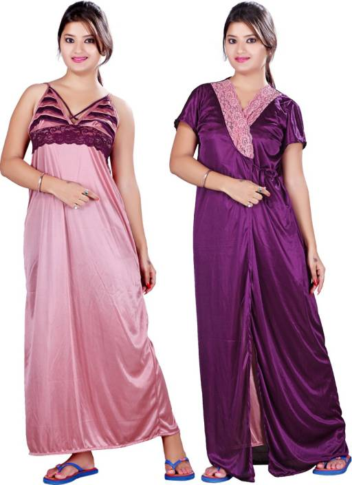 Bailey Women s Nighty with Robe - Buy Purple Pink Bailey Women s ... ec644df87