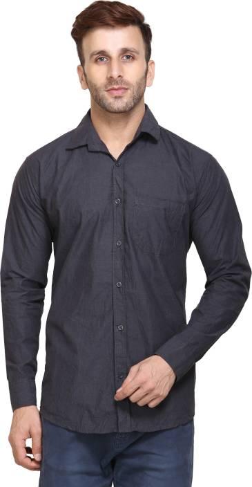 Maggivox Men's Solid Casual Grey Shirt