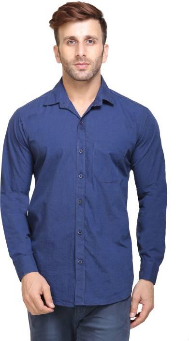 Maggivox Men's Solid Casual Blue Shirt