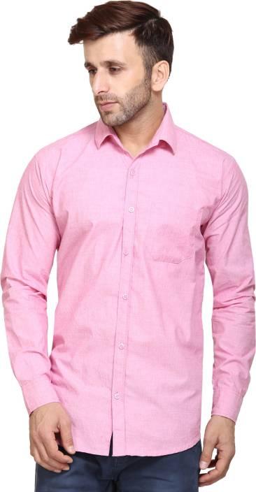 Maggivox Men's Solid Casual Pink Shirt