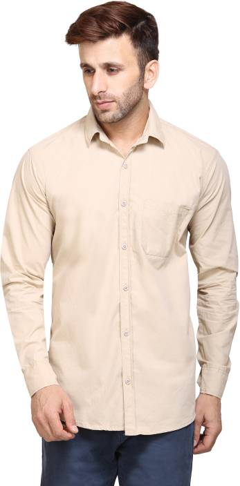 Maggivox Men's Solid Casual Beige Shirt
