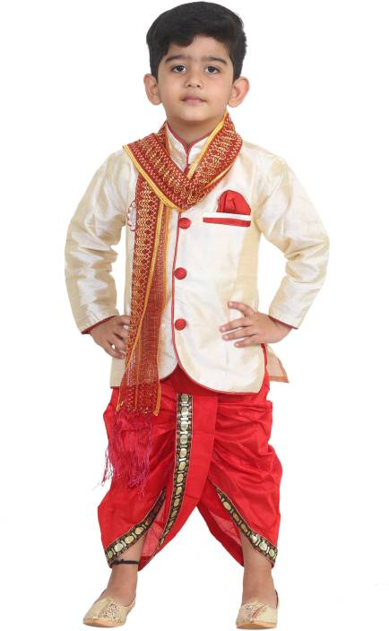 STYLOKIDS Boys Festive & Party Kurta, Dhoti Pant & Dupatta Set  (Beige Pack of 3)
